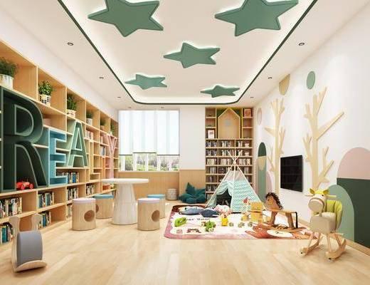 图书馆, 墙饰, 置物柜, 玩具, 桌椅组合