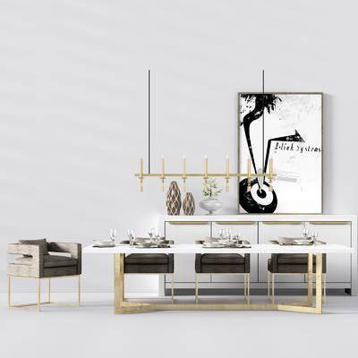 桌椅组合, 餐桌, 单椅, 现代桌椅组合, 现代餐桌, 椅子, 吊灯, 餐具, 餐边柜, 挂画, 装饰画, 摆件, 装饰品, 花瓶, 瓷器, 现代, 轻奢