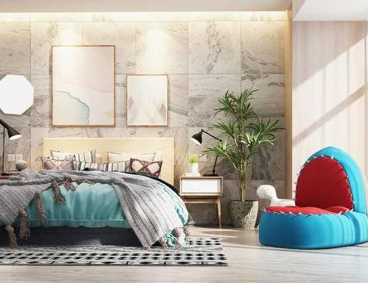 双人床, 沙发, 单人沙发, 北欧卧室, 卧室, 懒人沙发, 床