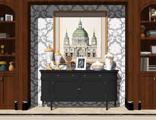 端景台, 摆件组合, 装饰画, 置物柜, 书籍