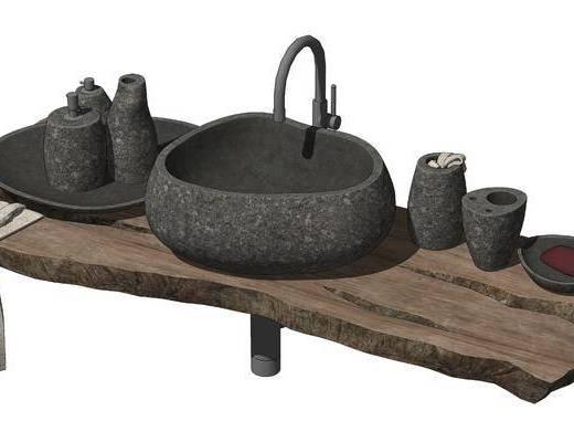 现代洗手盆, 石头台盆
