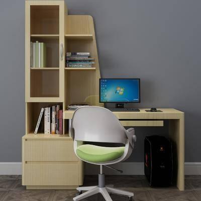 书桌椅组合, 书籍, 现代