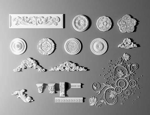欧式, 雕花, 构件, 石膏线