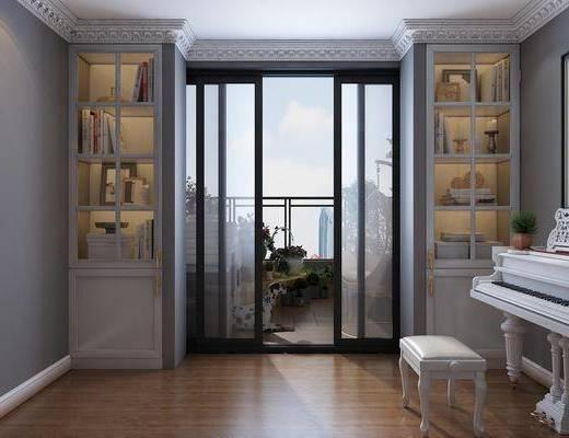 现代阳台, 钢琴, 装饰柜