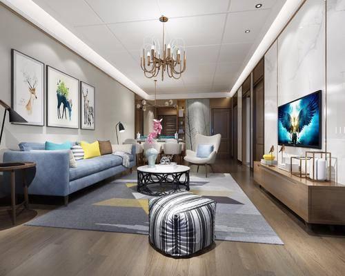 现代客餐厅, 现代客厅, 沙发, 现代吊灯, 凳子, 餐桌椅, 装饰画