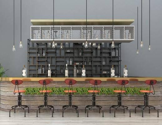?#21830;? 吧椅, 单人椅, 吊灯, 装饰架, 装饰柜, 盆栽, 绿植, 摆件, 装饰品, 陈设品, 酒柜, 酒架, 工业风