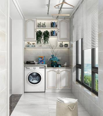 阳台露台, 洗衣机, 装饰柜, 橱柜组合, 花瓶, 花卉, 摆件, 装饰品, 陈设品, 简欧