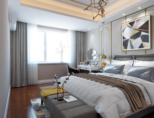 卧室, 现代卧室, 床尾凳, 装饰画, 梳妆台, 吊灯