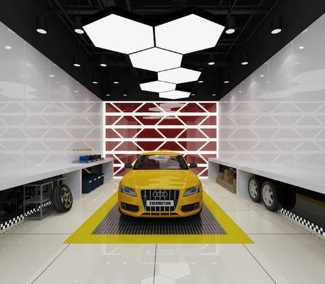喷漆车间, 汽车维修店, 吊灯, 展厅