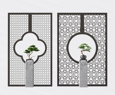 金属屏风, 玄关隔断, 镂空隔断, 盆栽, 绿植植物, 新中式