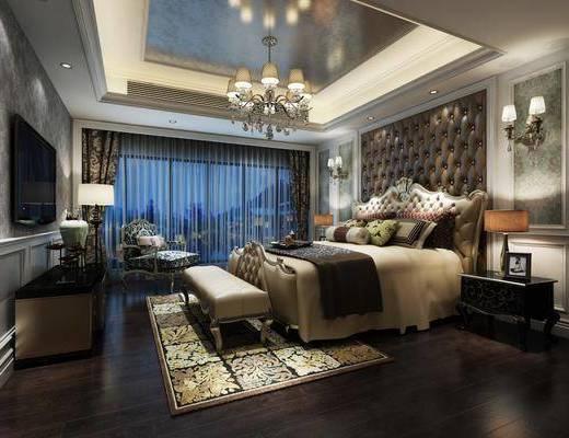 卧室, 床具组合, 欧式卧室, 单椅, 电视柜, 吊灯, 软包, 壁灯, 床尾踏, 欧式