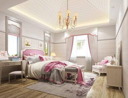 简欧, 女儿房, 单人沙发, 床尾凳, 边柜, 吊灯, 台灯