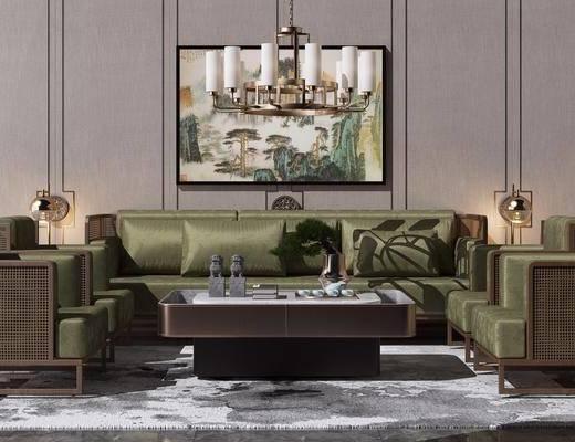 沙发组合, 背景墙, 装饰挂画, 新中式吊灯