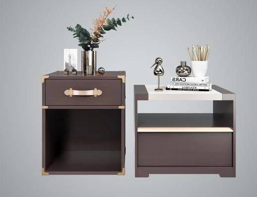 床头柜组合, 边柜组合, 摆件组合, 现代轻奢