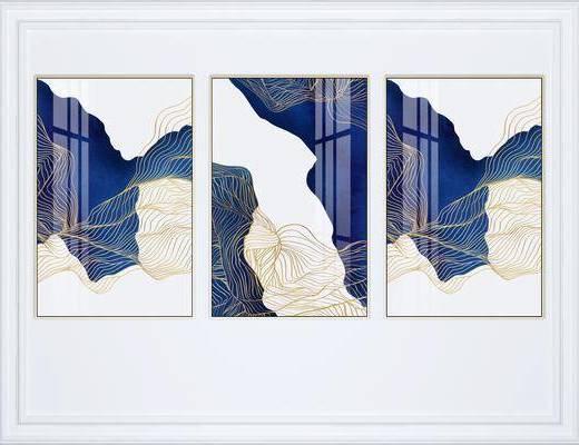 挂画组合, 装饰画, 抽象挂画, 艺术画, 组合画, 现代