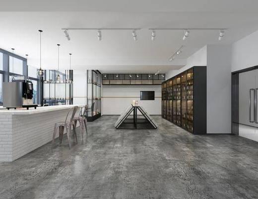 甜品店, 吊灯组合, 酒柜, 酒瓶, 单人椅, 射灯, 现代