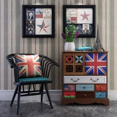 边柜组合, 单人椅, 装饰画, 花瓶, 绿植植物, 挂画, 美式