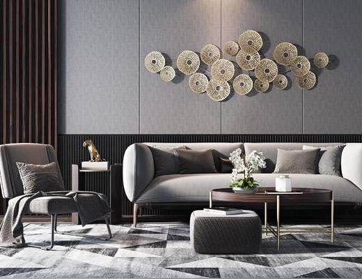 现代, 双人沙发, 边几, 墙饰, 休闲椅