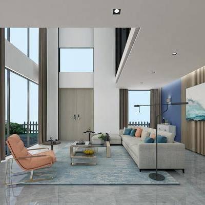 客厅, 转角沙发, 多人沙发, 布艺沙发, 装饰画, 茶几, 摆件, 现代