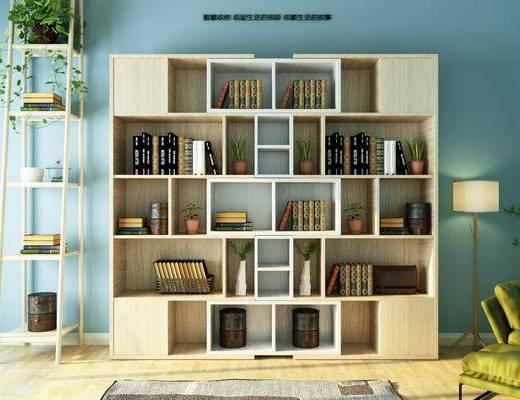 创意书柜, 装饰柜, 落地灯, 装饰架, 书架, 装饰品, 陈设品, 现代简约