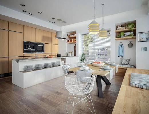 厨房, 餐厅, 餐桌, 桌椅, 椅子, 厨房用具, 吊灯
