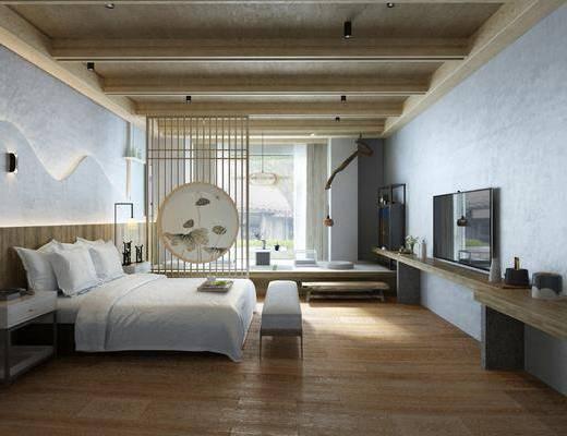 民宿卧室, 酒店客房, 多人沙发, 床头柜, 床尾凳, 摆件, 装饰品, 陈设品, 日式