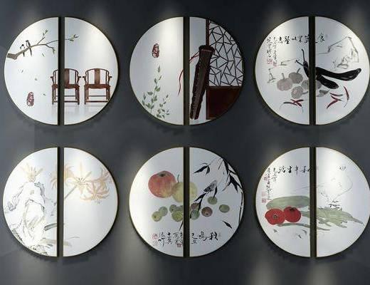 圆框画, 装饰画, 挂画, 新中式