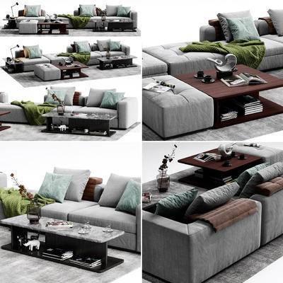 沙发, 脚踏, 沙发凳, 茶几, 边几, 台灯, 摆件, 沙发组合, 沙发茶几组合, 现代