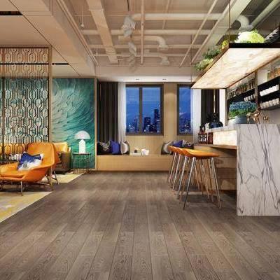 餐厅, 单人沙发, 多人沙发, 吧台, 吧椅, 橱柜, 茶几, 台灯, 北欧