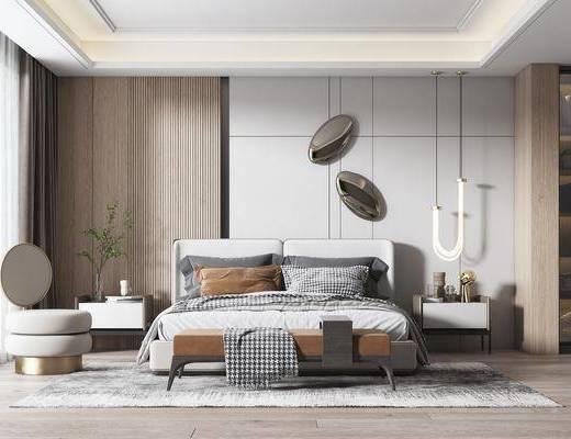双人床, 床具组合, 吊灯, 床头柜, 单椅