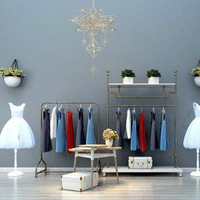 现代服装店衣服架模特组合, 现代, 模特, 服装, 童装, 裙子