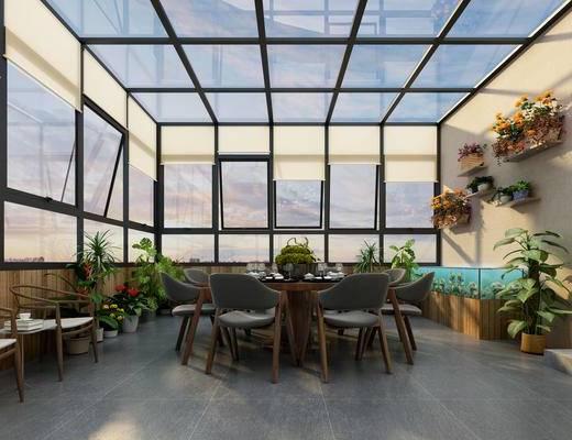 现代, 阳光房, 阳台, 休闲桌椅, 绿植