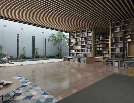 藏书室, 书架, 书籍, 书柜, 景观小品