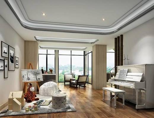 钢琴, 活动室, 单椅, 装饰画, 窗帘