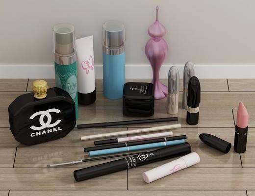化妆品, 唇膏香水, 护肤品, 画笔, 摆件组合, 现代