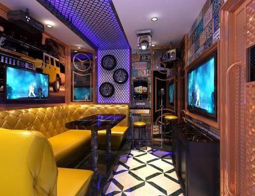 KTV包间, 多人沙发, 茶几, 转角沙发, 墙饰, 单人椅, 现代