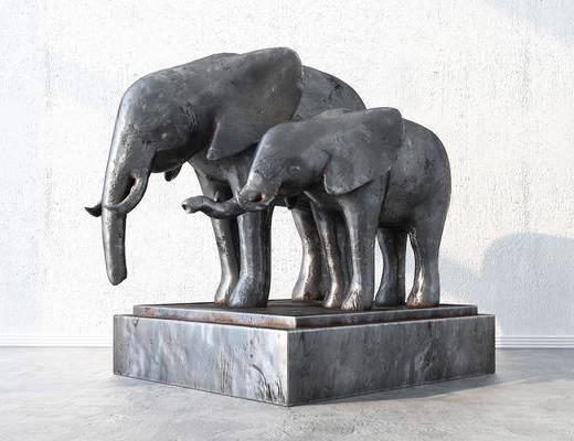 现代, 雕塑, 大象, 摆件