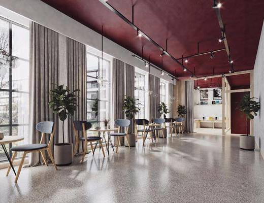 数码店, 单椅, 椅子, 桌子, 圆桌, 圆几, 轨迹射灯, 植物, 盆栽, 挂画, 装饰画, 吊灯, 置物架, 摆件, 装饰品, 北欧