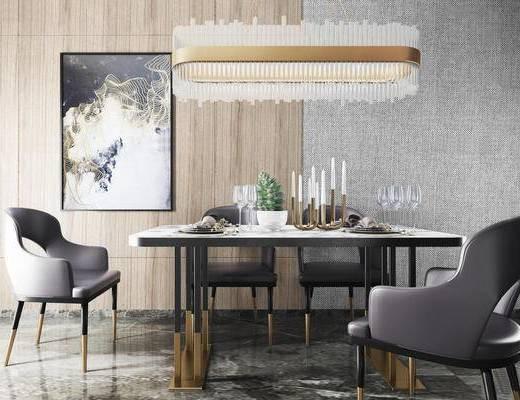 现代简约, 桌椅组合, 餐具组合, 吊灯, 植物盆栽, 现代