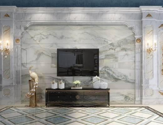 背景墙, 电视背景墙, 罗马柱, 电视柜, 壁灯, 摆件组合