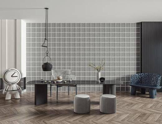 茶桌, 单人椅, 圆凳, 矮凳, 饰品摆件, 茶壶, 茶具, 装饰柜, 桌花