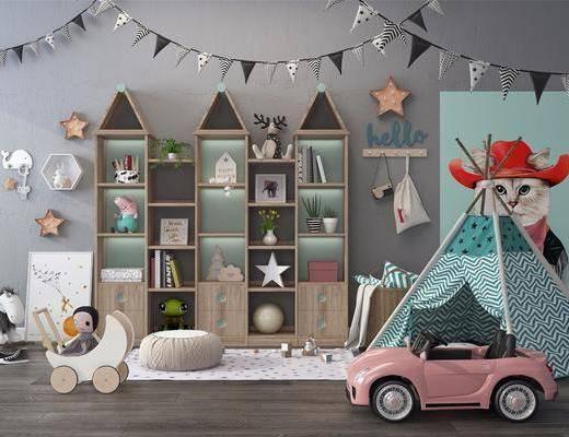 儿童房, 装饰柜组合, 玩具组合, 摆件组合, 墙饰组合, 帐篷, 北欧