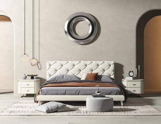 北欧床具, 双人床, 墙饰, 吊灯, 床头柜