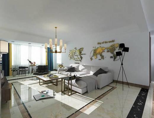 现代简约, 客厅, 吊灯, 落地灯, 墙面装饰, 沙发组合