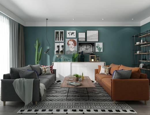 现代客厅, 北欧客厅, 沙发茶几组合, 装饰柜, 照片墙, 沙发组合