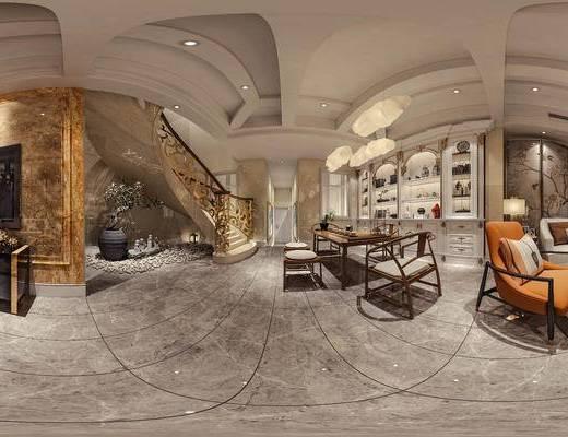 美式客餐厅全景, 美式吊灯, 楼梯, 餐桌椅组合, 电视柜, 酒柜