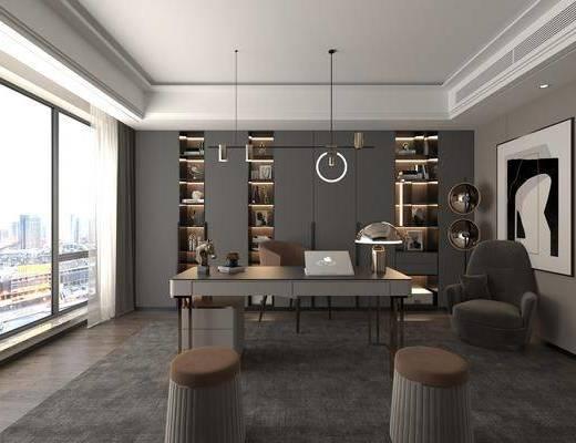 现代书房, 书桌椅, 吊灯, 书柜