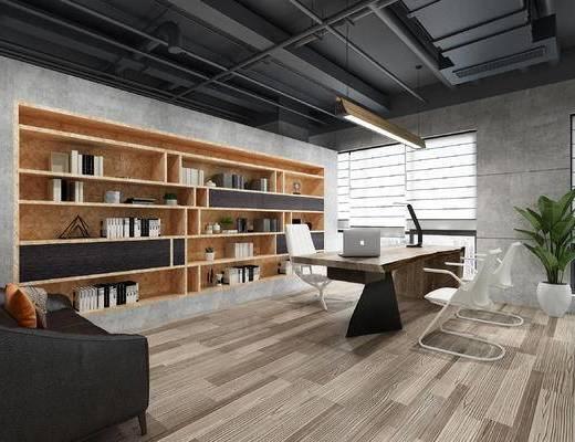 办公室, 办公桌, 书柜, 书桌, 吊灯, 书架, 书籍, 书本, 工业风