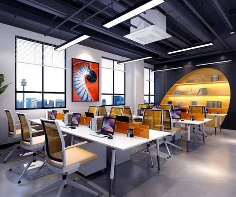 办公前台, 会议桌, 单人椅, 桌子, 前台, 台灯, 吊灯, 装饰画, 挂画, 装饰柜, 摆件, 装饰品, 陈设品, 现代