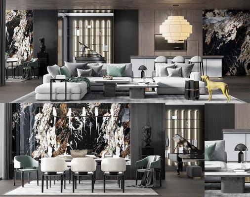 现代沙发组合, 餐桌, 单椅, 茶几, 吊灯